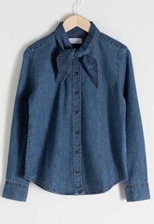 & Other Stories Organic Cotton Denim Tie Shirt