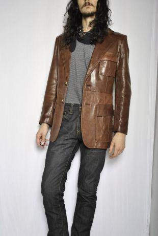 J. veste de tailleur en cuir marron VINTAGE GRÉEMENTS / sz 40 sport manteau blazer / medium mens / perfect slick moto 70s 80s 90s / femme