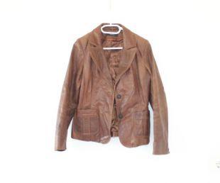 Blouson en cuir de femme pour hommes. Taille de vol marron doublé porc veste Zip Up pilote aviateur vêtements manteau vintage des années 80 en difficulté moyenne