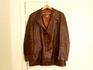 Veste en cuir Vintage classique des années 1970 par grais Angel Skin Cabretta cuir taille 42 véritable cuir Trench court mens grand Ganster, poches