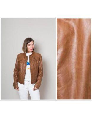 Cognac vintage cuir marron veste en cuir Vintage veste en cuir d'agneau en détresse veste 80 s 90 s petite taille