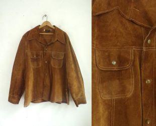 Veste en daim pour homme Vintage | des années 70 marron daim véritable veste Western en cuir | Mens taille medium (44)