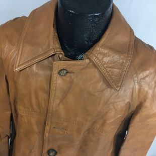 Vintage 70 ' s hommes Startown MoD marron en cuir COGNAC sur manteau 4 BTN Cowboy Western SpY veste 42
