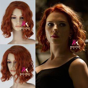 Cosplay perruque veuve noire Natasha Romanoff cheveux courts bouclés