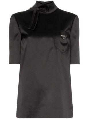 Prada High neck Satin Logo Top Black