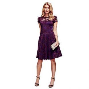 Purple Lace Fit n Flare Dress