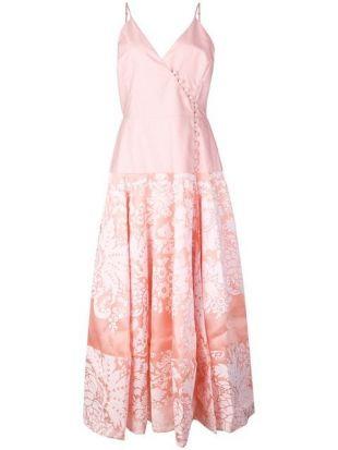 Damask wrap front midi dress