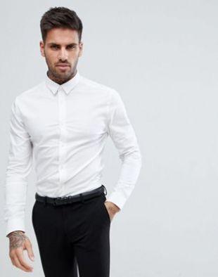 New Look   Chemise moulante en popeline   Blanc | ASOS