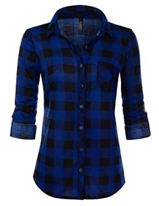 JJ Perfection Women's Roll Up Long Sleeve Tartan Plaid Collared Button Down Boyfriend Casual Flannel Shirt Top Royalblack Small (fits Like US X-Small)