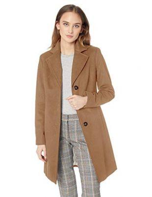 Calvin Klein Women's Classic Cashmere Wool Blend Coat, CAMEL, 4