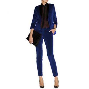 JYDress Women's Velvet Pant Suits Set Ladies Business Office Tuxedos Formal Work Wear Royal Blue