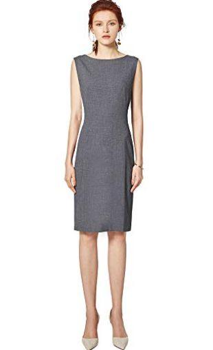 ROEYSHOUSE Women's Sleeveless Round Neck Sheath Cocktail Dress Midi Work Office Dress Grey M