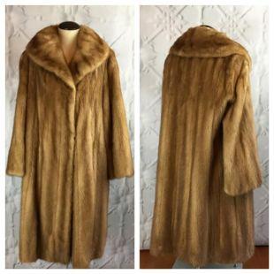 High Quality Mink EMBA Autumn Haze Vintage 1960s Fur Coat with Shawl Collar / MED LG Xl