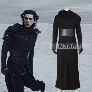 Star wars 7 : kylo ren adulte uniforme noir manteau star wars costume hommes