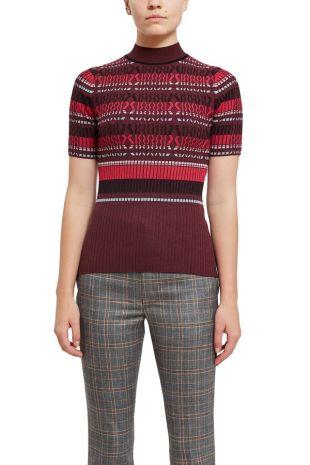 Rib Stripe Short Sleeve Top