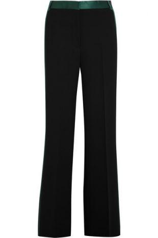 Silk Satin Trimmed Crepe Wide Leg Pants
