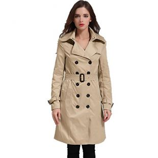 EORISH Women British Double Breasted Slim Long Trench Coat Windbreaker Khaki M