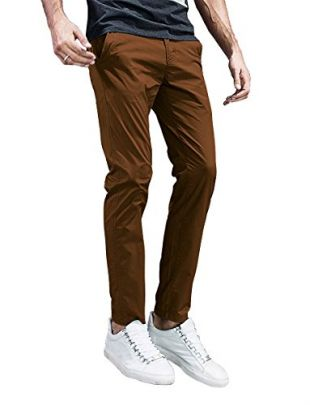 Match Mens Slim-Tapered Flat-Front Casual Pants (32, 8105 Light Brown)