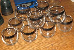 11-8 oz Vintage Dorothy Thorpe Style Roly Poly Mid Century Silver Rim Glasses