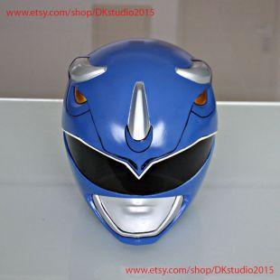 1:1 Scale Halloween Costume, Mighty Morphin Power Ranger Helmet Costume Mask, Power Ranger Cosplay Blue Ranger PR14