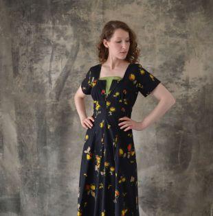 1940s Black Print Cotton Dress