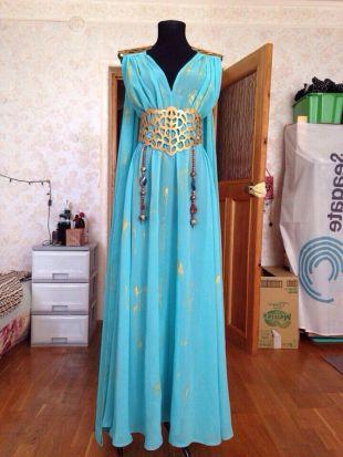 Custom made - Game of Thrones - Daenerys Targaryen Mother of Dragons Blue Handmade Cosplay Dress Costume and belt