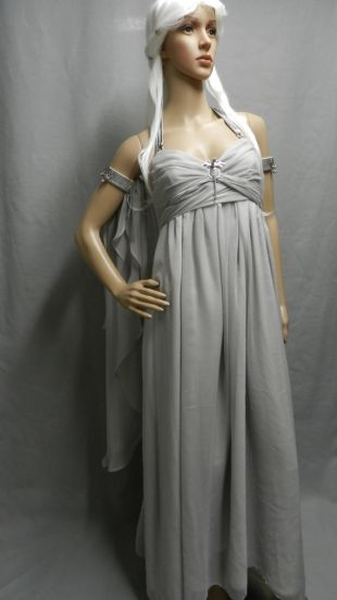 Inspired by Game Of Thrones KHALEESI Daenerys Targaryen wedding dress gray chiffon replica CUSTOM MADE with dragon brooch / pin