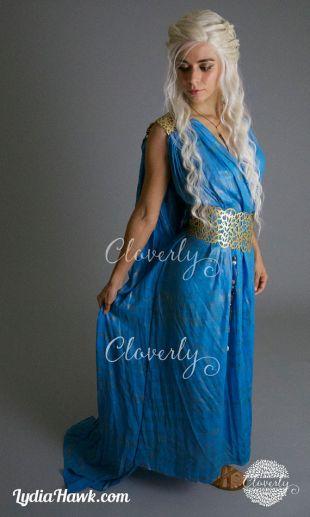 Daenerys Targaryen Dress / Game of Thrones Khaleesi Blue Gown + Gold Filigree Belt / Halloween Costume Qarth Cosplay by Cloverly