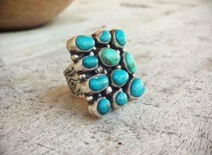 Grande bague Turquoise Navajo pour femmes taille 8,75, Native American Indian bague Turquoise argent massif bijoux, meilleur anniversaire cadeau femme