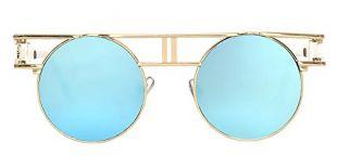 BOZEVON Lunettes Goth Steampunk Réfléchissant Flash Miroir Cru Rond Lunettes de soleil ronde Or-Bleu