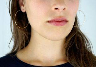 Hammered Hoops in 14K Gold fill, large gold hoop earrings