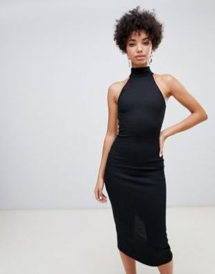 River Island bodycon dress with high neck in black