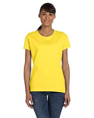 Fruit of the Loom Ladies' 5 oz, HD CottonÖ T-Shirt-Yellow-M