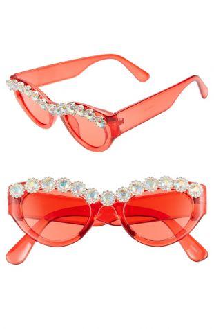 50mm Chunky Crystal Embellished Sunglasses | Nordstrom