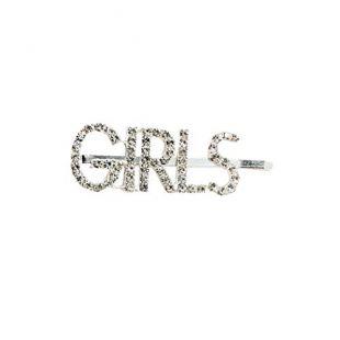 A0127 Pince à cheveux Clip Pince à cheveux droite Lettres majuscules Strass embellissement Drôle Accessoires de cheveux (1# girls)