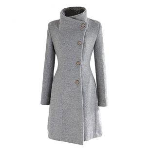 manteau pour femme de nonbrabd, double-breasted, veste Longue d'hiver Style Vintage, tailles L M S XS - Gris - S