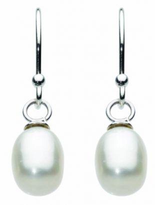 DewBoucles d'Oreilles 925/1000 Argent Perle Blanc Femme