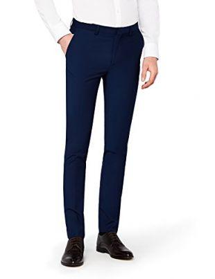 Hem & Seam Pantalon de Costume Décontracté Skinny Homme, Bleu (Navy), W30/L33
