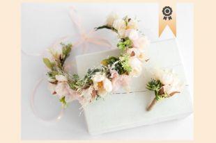 Couronne de fleurs d'hiver, couronne de fleurs rustique, postiche floral, couronne de fille de fleur, serre tête de fleur rose