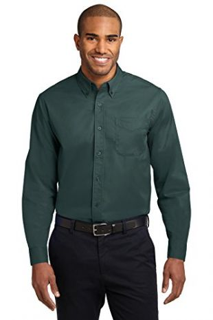 Port Authority Long Sleeve Easy Care Shirt, Dark Green, L