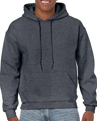 Gildan Men's Heavy Blend Fleece Hooded Sweatshirt G18500, Dark Heather, Medium