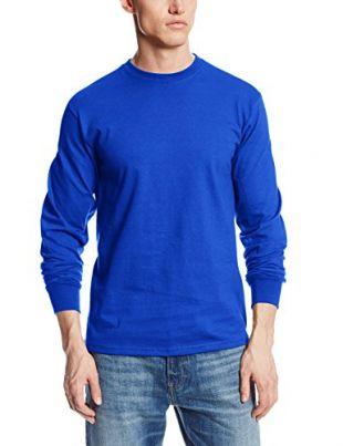 MJ Soffe Men's Long-Sleeve Cotton T-Shirt, Royal, Large