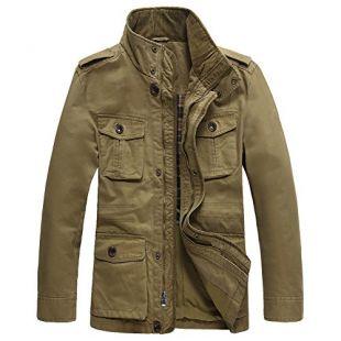 JYG Men's Casual Military Windbreaker Jacket Cotton Stand Collar Field Coat,Khaki-0879,US Large