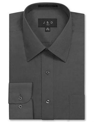 JD Apparel Men's Long Sleeve Regular Fit Solid Dress Shirt 16-16.5 N 34-35 S Charcoal,Large