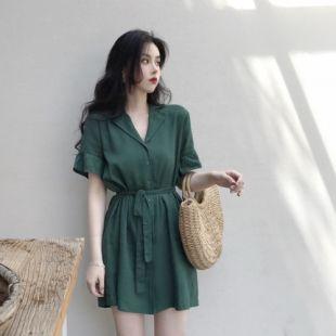 Short Sleeve Dark Green Loose Women