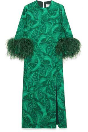 16Arlington Billie feather trimmed printed cady dress