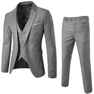 Startview Men's Suit Slim 3-Piece Suit Blazer Business Wedding Party Jacket Vest & Pants (Grey, Large)