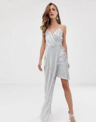 Super mini dress with asymmetric hem in silver iridescent