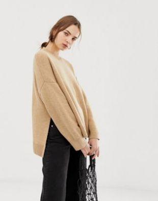 High neck sweater in Beige