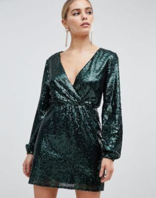 Sequin wrap front long sleeve skater dress in emerald green